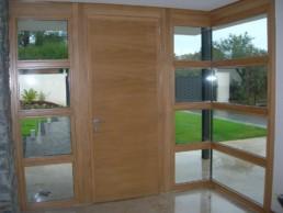 puertas de madera, muro cortina madera